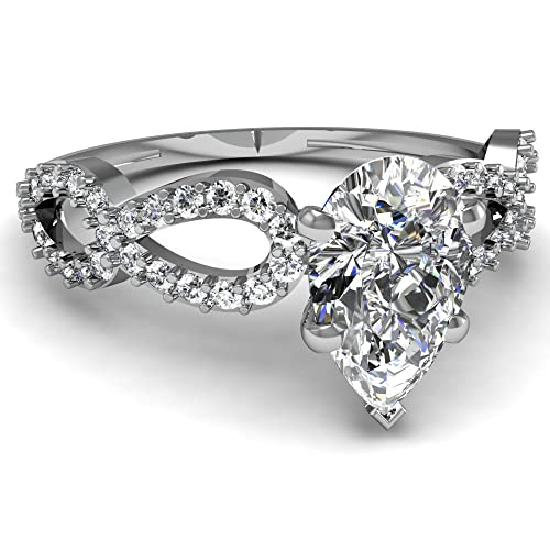 White Gold Pear Shape Diamond Infinity Engagement Ring