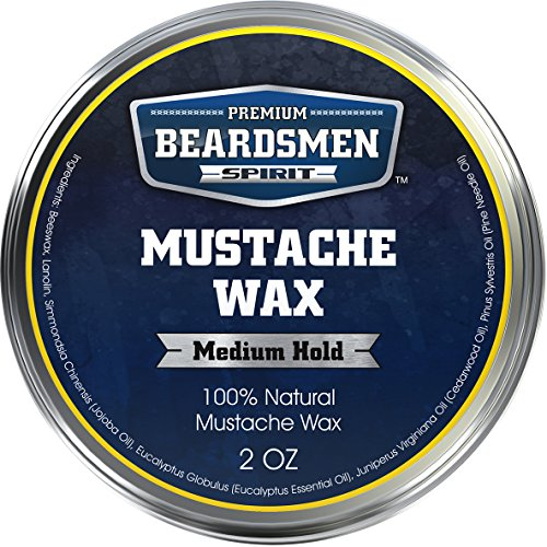 Premium Mustache Wax - HUGE 2 oz Metal Tin - THREE TIMES LARGER - Expert Crafted With 100% Natural Ingredients - Fresh Woodsy Scent - With Nourishing Jojoba Oil Plus Three Essential Oils!