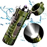 USB Rechargeable Dual Arc Lighter with LED Flashlight - 2 in 1 (Camouflage) (Color: Camouflage)