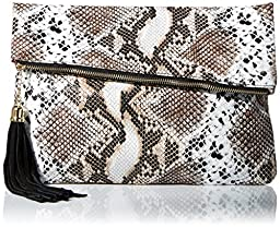 MG Collection Snakeskin Foldover Clutch, Animal Print, One Size