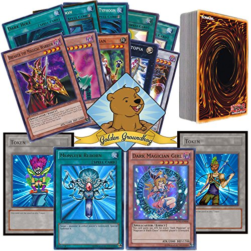 40-Assorted-Yugioh-Pack-Lot-All-Monster-and-Spell-Yugioh-Cards-All-Rares-Holos-and-Foils-No-Duplication-Comes-in-Collectible-Tin-Includes-Two-Custom-Golden-Groundhog-Tokens