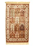 Natural 3x5 Silk Hanmade Rug Natural Hamadan Design (Stone)