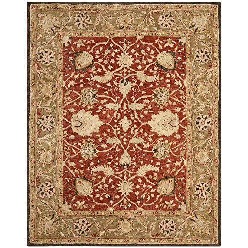 Safavieh Anatolia Collection AN512G Handmade Rust and Green Wool Area Rug, 6 feet by 9 feet (6' x 9')