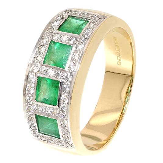 Square Diamond & Emerald Half Eternity Ring