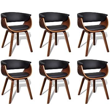 6 Sillas de comedor modernas de madera y cuero artificial