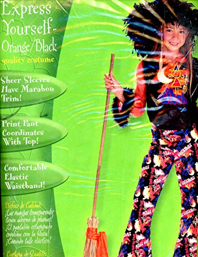 Express Yourself in Orange & Black Hippie Halloween Costume By Disguise Girl's 7-10