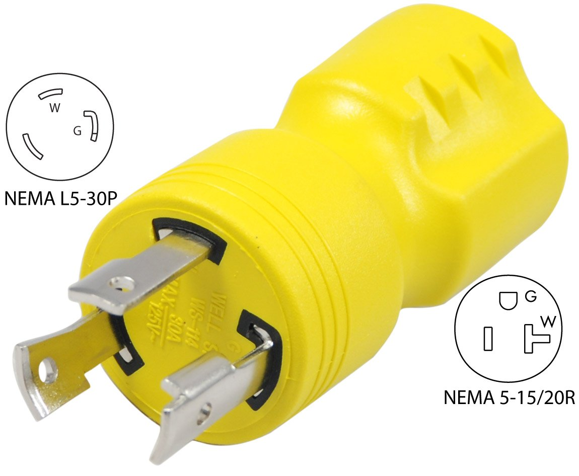 Conntek Locking Adapter with 30 Amp 125 Volt Male Plug To ...