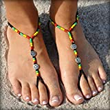 SunSandals Barefoot Sandals Foot Ankle Jewelry Anklets - Rasta - Medium