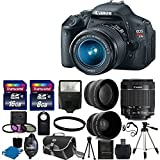 "Canon EOS Rebel T3i 18 MP CMOS Digital SLR Camera and DIGIC 4 Imaging with EF-S 18-55mm f/3.5-5.6 IS Lens + 58mm 2x Professional Lens +High Definition 58mm Wide Angle Lens + Auto Flash + 59"" Strong lightweight Tripod + UV Filter Kit With 24GB Complete Deluxe Accessory Bundle"