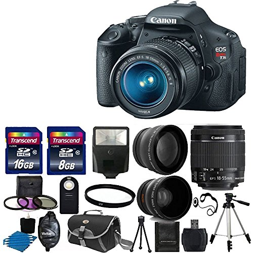 "Canon Eos Rebel T3I 18 Mp Cmos Digital Slr Camera And Digic 4 Imaging With Ef-S 18-55Mm F/3.5-5.6 Is Lens + 58Mm 2X Professional Lens +High Definition 58Mm Wide Angle Lens + Auto Flash + 59"" Strong Lightweight Tripod + Uv Filter Kit With 24Gb Complete Del"