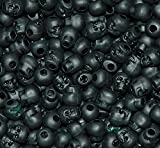 JOLLY STORE Crafts Skull Beads Flat Black 100pc