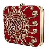 Marigold Bagss Maroon Rangoli Wedding Clutch