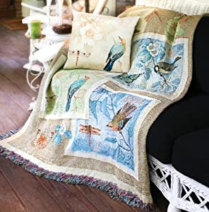 "Nature's Sketchbook Birds and Butterflies Tapestry Throw Blanket 50"" x 60"""