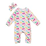 Infant Baby Girl Long Sleeve Romper Jumpsuit colorful Horse Print One-Piece Bodysuit With Headband Outfit Clothes (6-12 Months, Pink)
