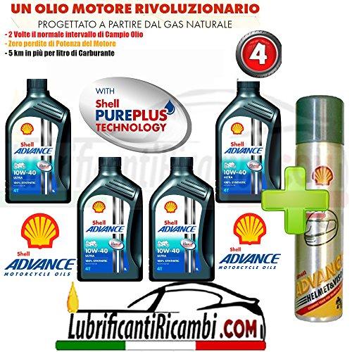 Offerta-Shell-Advance-4T-Ultra-10W40-SMMA2-4-Litri-Nuova-Formula-PUREPLUS-Shell-Advance-Helmet-Pulitore-casco-Elimina-silicone-insetti-olio-grasso-formato-300-ml