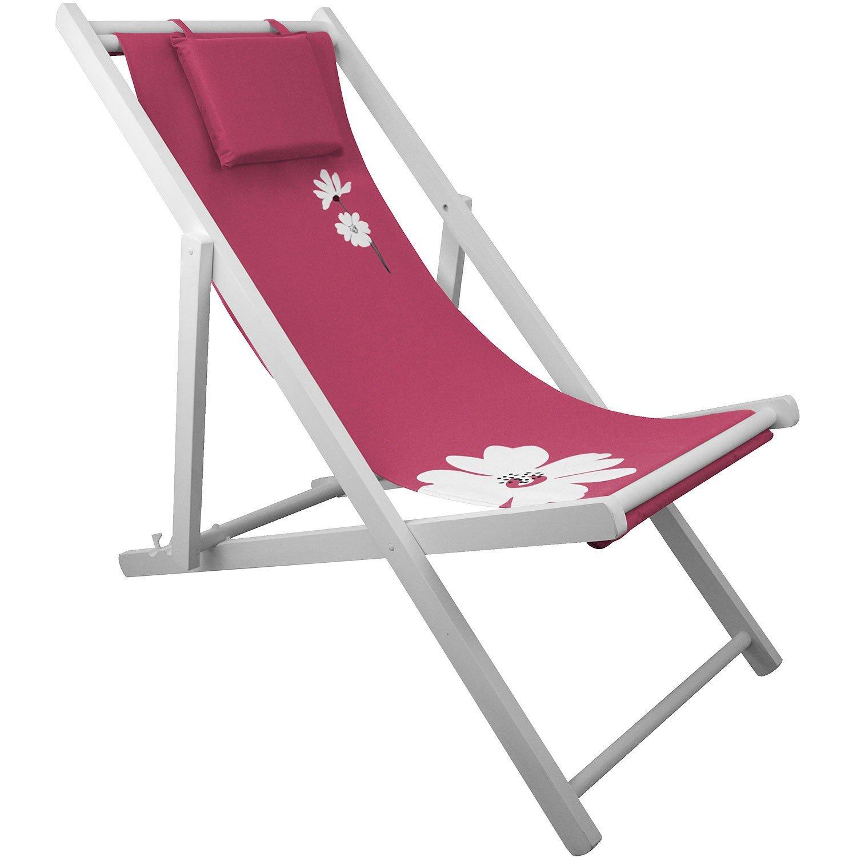 Liegestuhl 4-fach verstellbar Campingstuhl Strandstuhl Gartenstuhl Klappstuhl Strandliege Campingliege - Pink