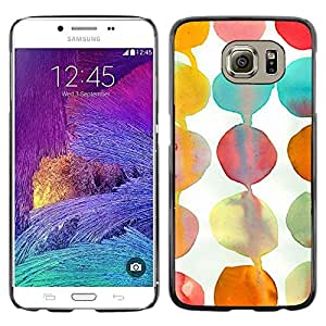Omega Covers - Snap on Hard Back Case Cover Shell FOR Samsung Galaxy S6 - Teal White Paper Kids Art