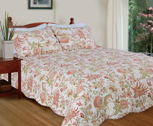 [Flowers in Paradise] 100% Cotton 3PC Floral Vermicelli-Quilted Quilt Set (Full/Queen Size)