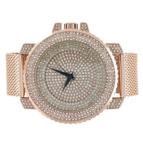 iced-out-faux-diamants-fini-or-rose-montre-bande-en-maille-joe-rodeo-jojo-look