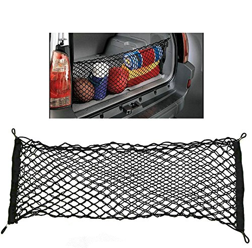 ZILONG Cargo Net Hammock Trunk Organizer Vehicle Storage with 4 Adjustable Hook Black (Truck Cargo Bar And Net compare prices)