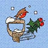 Mouseloft Mini Cross Stitch Card Kit - Little Winter Robin, Christmas Collection