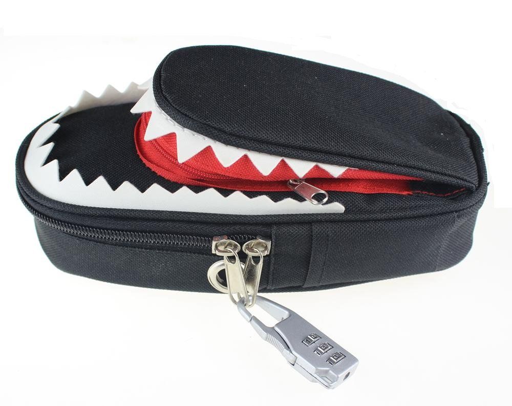 Big Capacity High Quality Canvas Shark Double Layers Pen Pencil Holder Makeup Case Bag for School Student with Combination Coded Lock high quality canvas large capacity solid color school multifunctional boys pencil case pen holder bag stationery penalty 04921