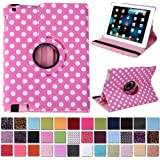 HDE iPad 2/3/4 360 Degree Rotating Leather Folio Smart Case Cover Stand with Smart Cover Auto Wake/Sleep (Pink & White Polka Dot)