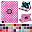 HDE 360� Rotating Leather Folio Case and Stand with Sleep/Wake Feature for iPad 2/3/4 (Pink & White Polka Dot)