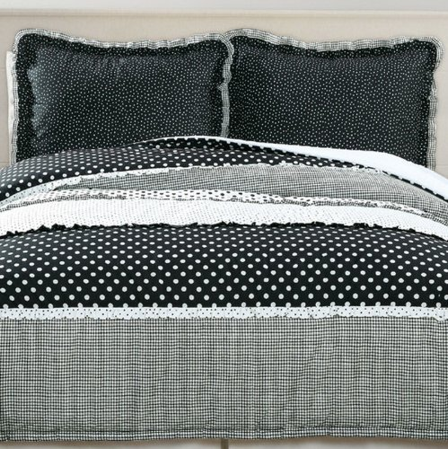 Black and White Polka Dot Comforter Bedding Set Full/Queen