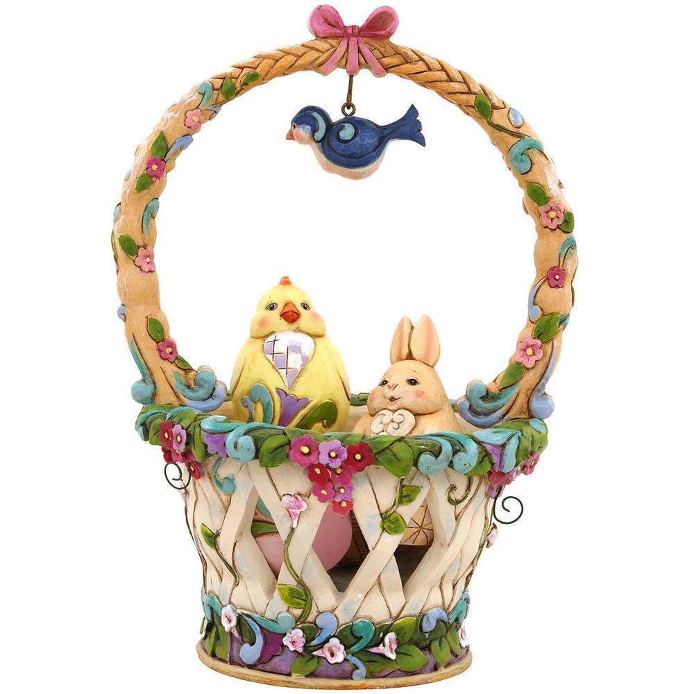 Jim Shore Heartwood Creek Basketful of Surprises Spring Basket Figurine Set
