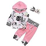 3Pcs Baby Girls Cute Floral Hoodie Sweatshirt+Polka Dots Pants Outfits Set (6-12M, Pink)