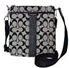 Coach Signature 12cm North South Swingpack F51157 Black White