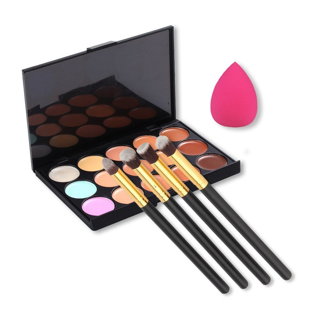 EVERMARKET 15 Colors Contour Face Cream Makeup Concealer Palette + 4pcs Powder Brushes With Free Makeup Sponge Blender