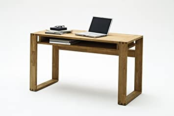 Dreams4Home Schreibtisch 'Trevis' Holz massiv Tisch Computertisch, Buro, Arbeitszimmer, Kinderzimmer, Asteiche, Kernbuche geölt, Breite 135 cm, 3 Schubladen, Farbe:Asteiche
