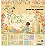 Graphic 45 Secret Garden Paper Pad, 8 by 8-Inch