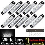 """10 pcs TMH® 3.8"""" 6 LED White Side Led Marker Truck Trailer Bost Bus Cab Marker Light RV"""