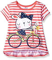 Gerber Graduates Girls Short Sleeve Swing Top with Back Ruffle, Bicycle Kitty, 24 Months