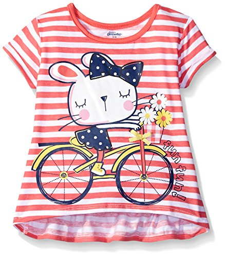 Gerber Graduates Girls Short Sleeve Swing Top with Back Ruffle, Bicycle Kitty, 18 Months