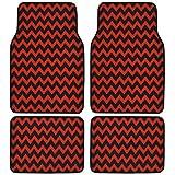 BDK USA Line Design (Chevron/ZigZag) Carpet Floor Mats (Red)