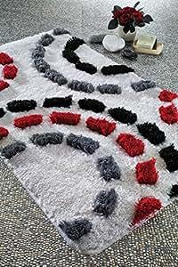 Amazon.com: Grey Black Red Bath Rug Perfect Design ...