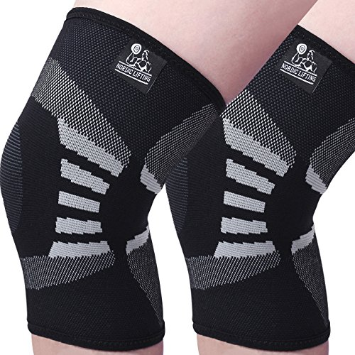 Knee Compression Sleeves (1 Pair) - Support for Arthritis Prevention & Recovery - 1 Year Warranty (Medium, Grey) (El Tape Red compare prices)