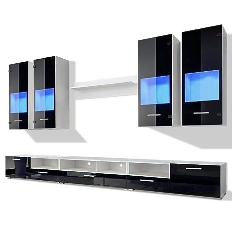 Meuble TV moderne noir en 8 parties + lumière bleu