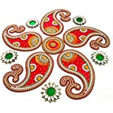 Handicraft Designer Rangoli - Jewel Stone Decorations Of Gold, Silver, Green And Amber Accents On Dolphin Motifs With Center Piece - Red Base Color - Also Includes Beautifully Decorated Tealight Candle Holders - Fresh, New Design - 24 Inch Dia - 11 Piece