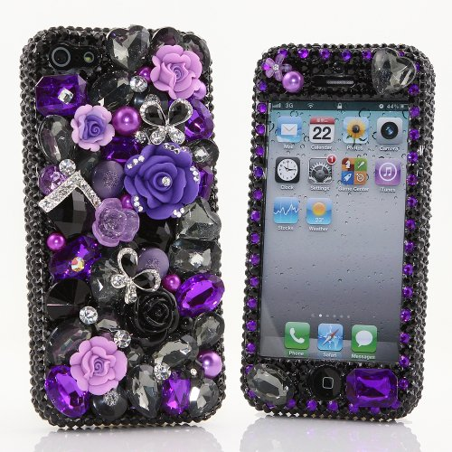 Special Sale BlingAngels® 3D Luxury Bling iphone 5 5s Case Cover Faceplate Swarovski Crystals Diamond Sparkle bedazzled jeweled Design Front & Back Snap-on Hard Case (100% Handcrafted by BlingAngels) (Black and Purple Flowers With Butterflies)