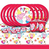 Peppa Pig Cartoon Children's Birthday Complete Party Tableware Pack for 16