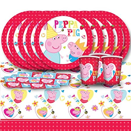 "Each of these fantastic classic tableware party packs includes 16 plastic 9oz cups, 16 paper 9"" plates, 16 paper 6.5"" napkins & a plastic table cover 72"" X 54"" all featuring a spectacular Peppa Pig themed Desig."