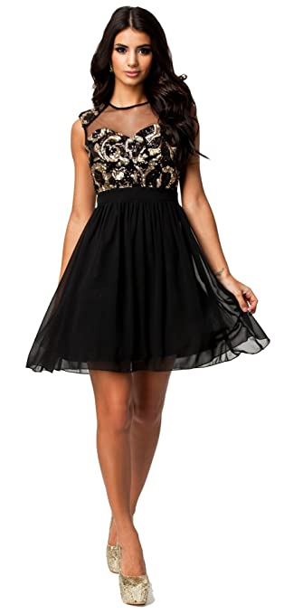 made2envy Mesh Sequin Chiffon Skater Dress (S, Black)