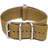 DaLuca Ballistic Nylon NATO Watch Strap - Sand (Matte Buckle) : 22mm