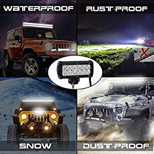 Nilight 2PCS 6.5 36w Flood LED Work Light Off Road LED Light Bar Super Bright for Jeep Cabin Boat SUV truck Car ATVs ,2 Years Warranty