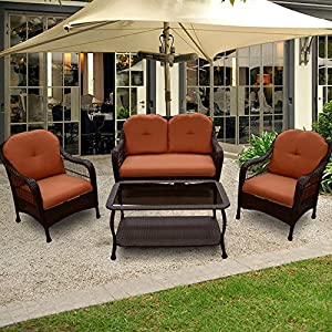 OUTT® Outdoor Patio Furniture Rattan Wicker Garden Furniture Sofa Chair 4 Pieces by OUTT